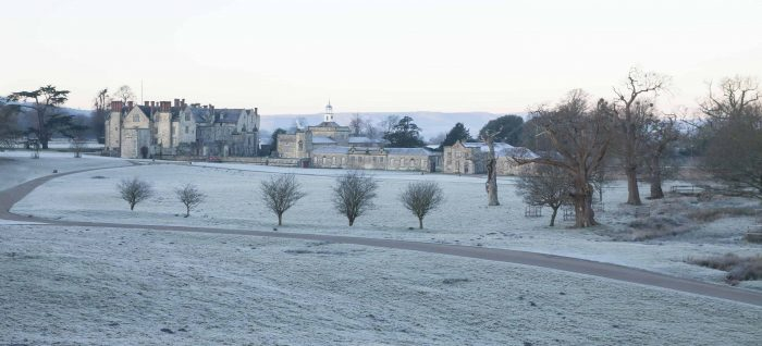 A light snow dusting over Parham House at Christmas