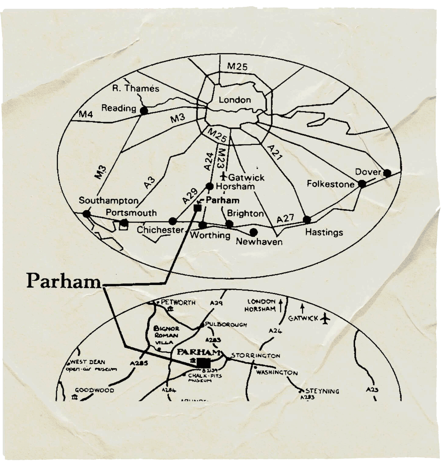 Parham House on an old map