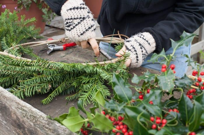 Creating the base layer of the wreath