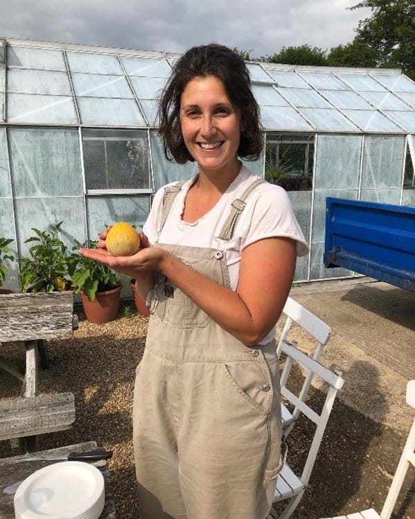 Anna Mariscal with her first melon at Parham