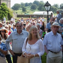 Crowds gathering at Parham House, Sussex